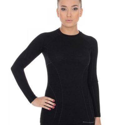 Bluza damska BRUBECK ACTIVE WOOL czarna
