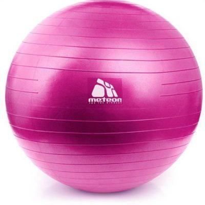 Piłka do fitnessu z pompką, średnica 55 cm METEOR różowa